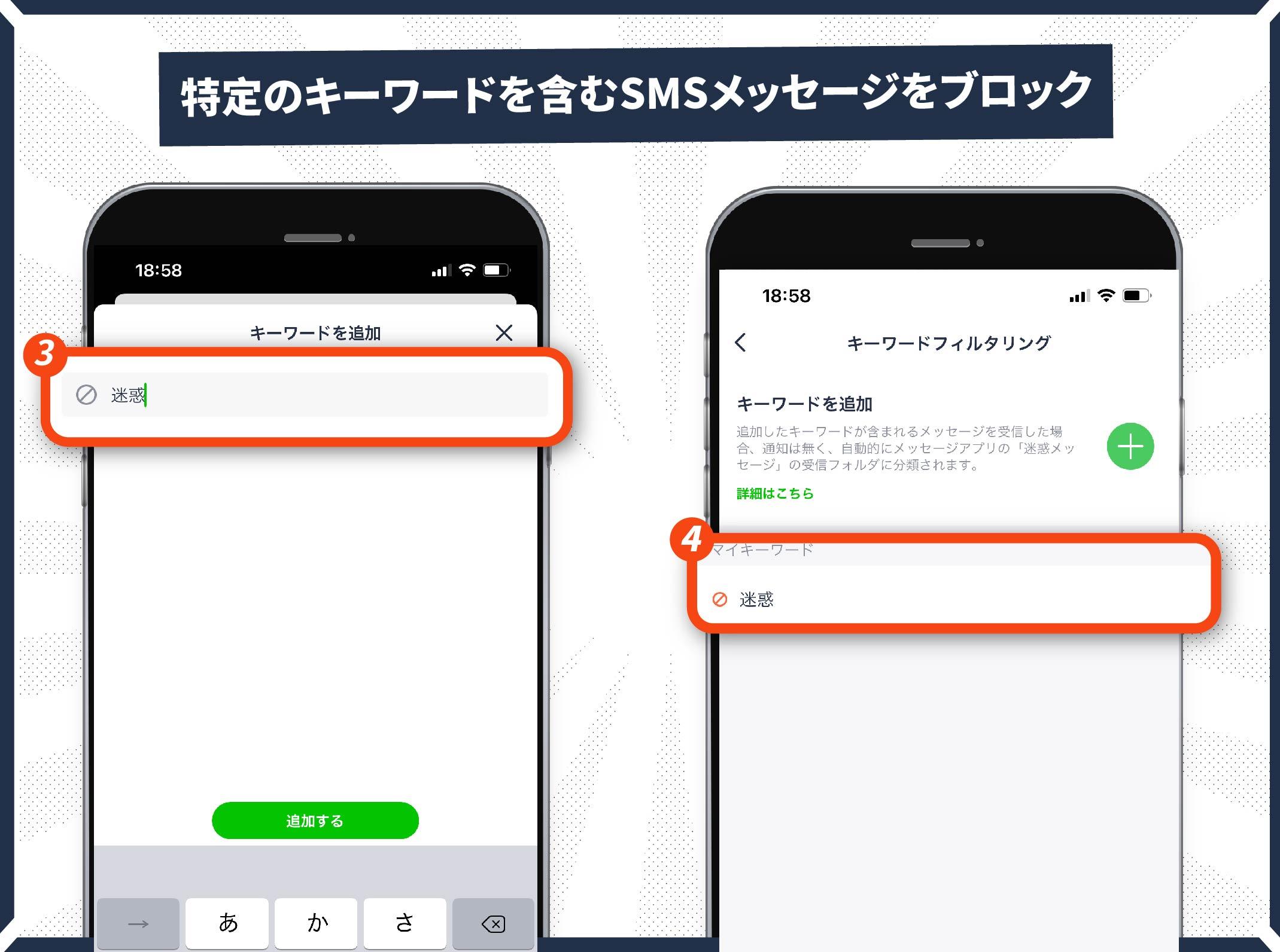 SMSメッセージの「キーワードフィルタリング」機能